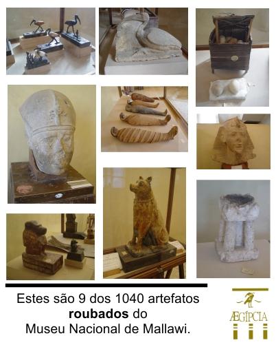 Estes são 9 dos 1040 artefatos roubados do Museu Nacional de Mallawi em agosto de2013.