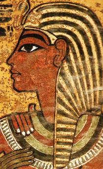 Faraó Tutankhamon em Imagem parietal de seu túmulo.