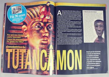 "Revista História Ilustrada, ""Os Mistérios de Tutancâmon"". 2013. Foto: Márcia Jamille. 2013."
